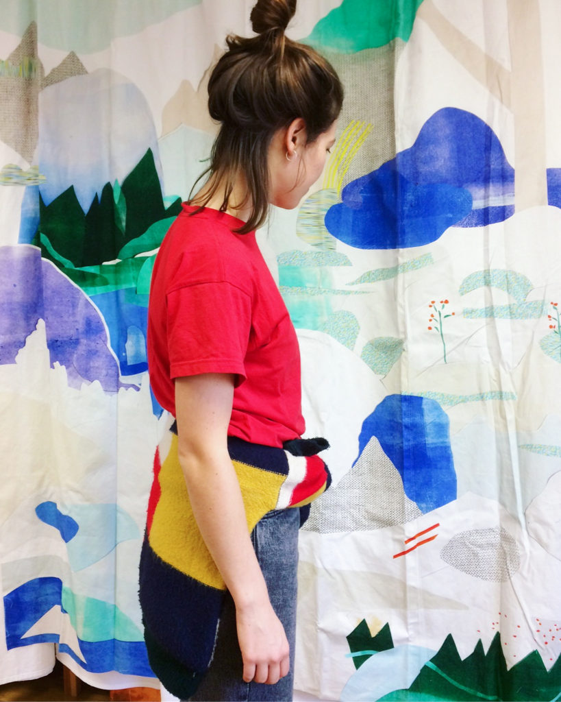 Johanna looking at the shower curtain prototype, «INSIGHT» collection © kollektiv vier